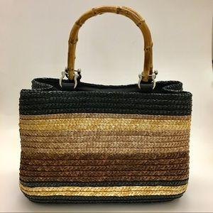 Tan Brown Black Straw Rattan Weave Bamboo Purse
